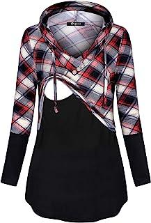 Quinee 女式长袖格子拼色护理套头连帽衫运动衫 黑红色格子 X-Large