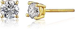 认证 14K 金钻石女士耳钉 - 促销品质,白金或黄金