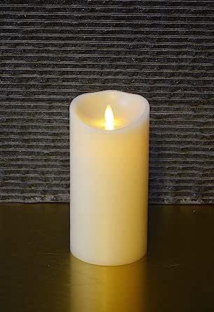 Muse Alight 7 英寸(约 17.8 厘米)常规无焰电子蜡柱蜡烛,定时器功能。象牙色,香草香味。包括遥控器。 (常规3.5 英寸 x 7 英寸(约 8.9 厘米)