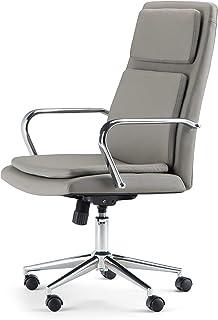 SIMPLIHOME Swanson 旋转可调节行政电脑办公椅灰色灰褐色人造革,适用于办公室和学习,当代