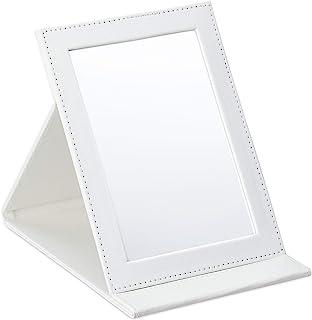 Relaxdays 折叠镜,适用于旅行,化妆和露营,人造革化妆镜,镜面面积高x宽:16x11 厘米,白色,1 件