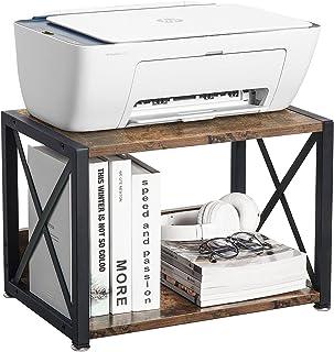 桌面打印机支架,带 2 层木质存储架,适用于传真机、扫描仪、文件、书籍、乡村棕色打印机架,带可调节防滑脚(棕色)(棕色)