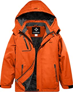 GEMYSE 男孩防水滑雪夹克羊毛防风冬季连帽夹克