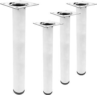 PrimeMatik 圆形桌子和家具脚镀铬钢腿 40 厘米 4 件装 (IO024)