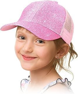 Geyoga 女孩马尾帽闪光棒球帽,带高圆髻杂乱马尾孔