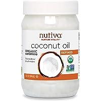 Nutiva 蒸汽精制椰子油,可持续养殖的椰子,non-GMO,15盎司(约425.24克),444毫升(1瓶)
