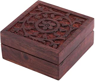 TERRAACRAFT 手工雕刻小手工装饰木盒 - 珠宝和饰品收纳盒,盖子上有花朵设计