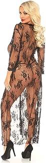 Leg Avenue 蕾丝睡袍和丁字裤,黑色,XL 码