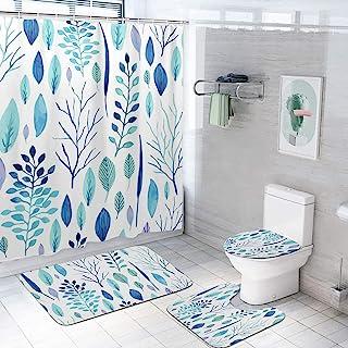 4 件套花卉浴室浴帘套装带 U 形地毯防滑浴垫和马桶盖盖套,优质热带面料浴帘带 12 个塑料挂钩家居装饰配件