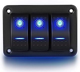ITYAGUY 3 组门开关面板汽车船舶防水 LED 开关继电器开关面板适用于船舶车辆卡车蓝色