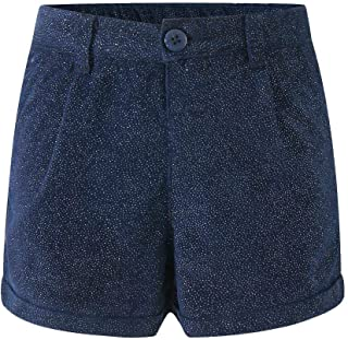 女婴棉质短裤幼儿闪光短裤两侧可调节腰带 2 个口袋 9 个月至 3 岁