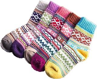 Campsis 5 双装复古保暖羊毛袜北欧厚针织水手袜柔软棉质休闲冬季袜,适合女士和女孩