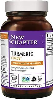 New Chapter 姜黄素补充剂,每日一剂 + 超临界姜黄,不需要黑胡椒,Non-GMO,无麸质– 120粒(4个月供应)