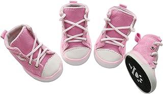 URBEST 4 件宠物狗帆布运动鞋,运动鞋靴,户外防滑休闲鞋适合中小型犬和大型犬(5#,粉色)