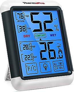ThermoPro TP55 数字室内湿度计 温度计 温度和湿度监测器 房间湿度计 带大触摸屏 背光