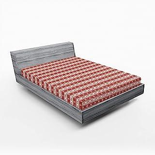 Ambesonne 圣诞床罩,挪威斯堪的纳维亚传统复古风格边框驯鹿条纹花朵,床罩带全圆弹性深口袋,舒适大床尺寸,白色红色
