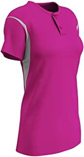 Champro 女童传统涤纶 2 粒扣垒球运动衫