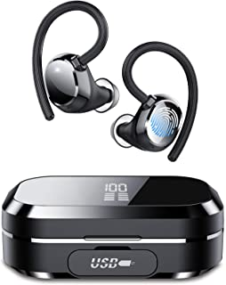 Tiksounds 蓝牙耳机,真正的无线耳塞 120 小时播放时间,带充电盒,深低音运动耳机,IPX7 防水,内置麦克风,LED 显示屏,适用于跑步/游戏/锻炼