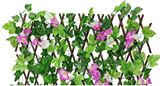 EKDJKK 人造叶子筛网 常春藤叶树篱面板 隐私花园围栏 阳台 人造花篱笆 露台 人造花绿篱 适用于露台室外(紫色)