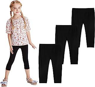 THEE BRON 幼儿/女童棉质七分裤夏季打底裤 Fl-3 件装-黑色 2T