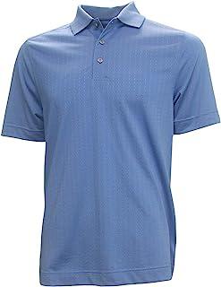 Cutter & Buck Golf 男式十字绣条纹 S 码 蓝色 Polo 衫