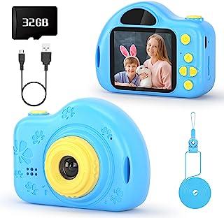 voltenick 儿童相机 适合 2 英寸 1080P 视频玩具相机 儿童圣诞礼物 适合 3-9 岁男孩,带 32GB SD 卡(蓝色)
