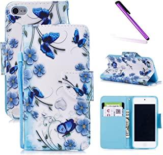 iPod Touch 6 手机壳,iPod Touch 5 手机壳,LEECOCO 花式印花钱包式手机壳卡/卡槽【支架】PU 皮对开翻盖保护套外壳 iPod Touch 6 / 5th HX] Magical Butterfly