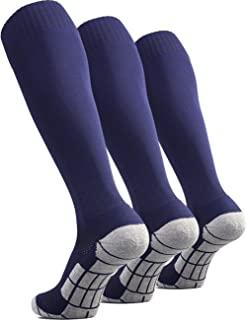 CWVLC 足球袜(1/3/5 双)团队运动及膝袜,适用于成人青少年儿童