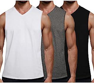 COOFANDY 男式 3 件装健身背心 V 领肌肉衬衫健身房*无袖 T 恤