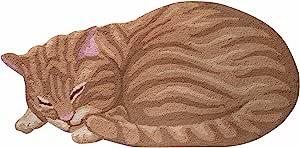 WHAT ON EARTH 睡猫地毯 - 可爱的手钩动物形状装饰地毯,橙色斑纹