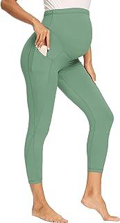 V VOCNI 孕妇七分裤打底裤女式运动服瑜伽裤口袋锻炼怀孕七分裤, C# 七分裤-*, Medium