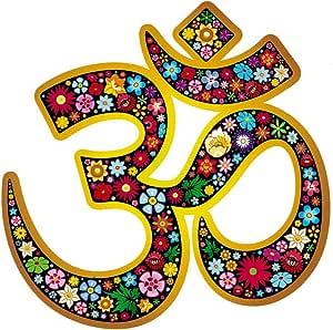 """Unique BRIGHT Om Aum Namaste 瑜伽符号花卉窗户贴纸(4.5"""" X 4.75"""")"""