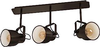 EGLO 吸顶灯 Mitchley,3 盏灯吸顶灯,复古,工业,复古,钢制吸顶灯,客厅灯,深青铜色,奶油色,厨房灯,带E27灯座,长 57.5 厘米