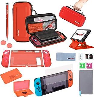 EVORETRO 任天堂 Switch 配件套件 - 红色 | 套装带旅行箱、游戏卡夹、拇指握把、钢化玻璃、TPU 保护套、笔触、折叠支架