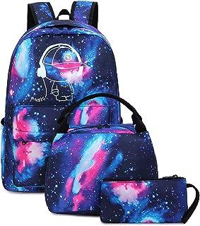 BLUBOON 帆布书包学生背包笔记本电脑书包青少年女孩高中 E0087-Blue 17 x 13 x 6.3 inches