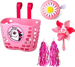 BIKE ENJOY 女孩自行车配件 – 套装带女孩自行车篮、流苏、花铃和风车 – 自行车配件 – 可爱的粉色设计 – 易于安装 – 5件套