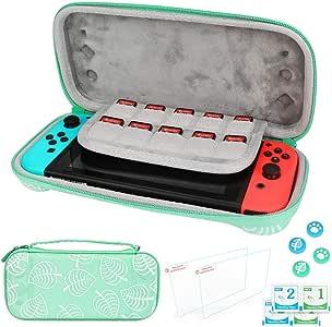 Nintendo Switch手提箱,Allnice 便携式手提箱,新地平线树叶交叉硬壳袋,带手柄,含2个屏幕保护膜和4个拇指握盖,任天堂Switch配件