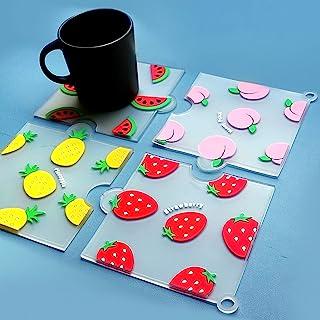 Trivets for Hot Pots and Pans Can Be Spliced 硅胶隔热垫和杯垫防滑耐热厨房热垫 4 件装适用于桌子和台面(方形)