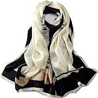 长款查梅斯丝绸围巾花卉图案印花