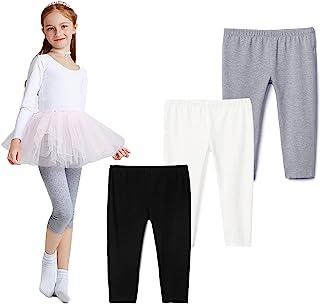 THEE BRON 幼儿/女童棉质七分裤夏季打底裤 Fl-黑色/白色/灰色 3T