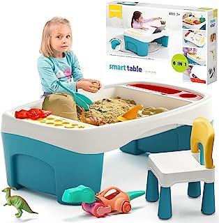 burgkidz 儿童站 户外沙子水桌 带恐龙沙滩玩具和雨罩 室内智能活动游戏桌 带椅子 沙盒 适合儿童、幼儿和儿童使用