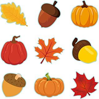 OSNIE 45 件秋季南瓜枫叶橡子切口彩色墙贴名称标签万圣节感恩节学校课堂公告板装饰套装秋季主题派对,各种设计