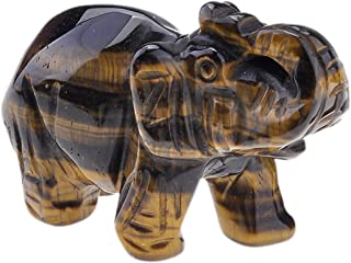 JOVIVI 天然玫瑰石英/新安怡/老虎眼/不透明石雕宝石大象雕像 5.08 厘米房间装饰,带礼品盒 虎眼 AJ10103703