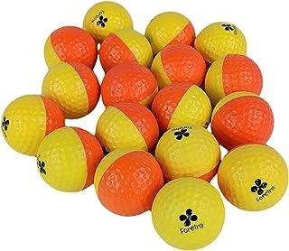 Foretra – 泡沫练习高尔夫球 – 黄色 / 橙色 18 个装 – 真实感觉 限时飞行 – 包括便携网袋 / 非常适合室内或室外练习