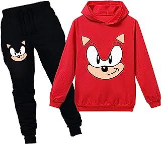 儿童声波套头衫连帽衫和运动裤 套装连帽衫慢跑裤运动服套装 男孩女孩 2 件套,红色