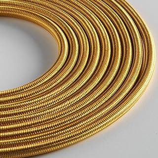 Klartext - 用于照明的圆形织物电缆,3 x 0.75 毫米,金色,5 米。 *大防震*!