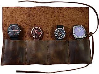 Hide & Drink,质朴皮革旅行手表卷收纳器*多可容纳 4 块手表,易于携带手表存储,旅行必备礼品,手工提供 101 年(波本棕色)
