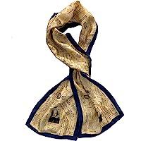 女式米色和*蓝 * 真丝威廉 Shakespeare 长方形时尚围巾