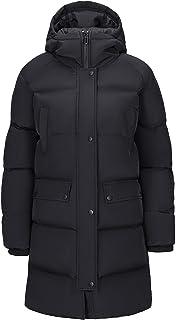 Camel 女式羽绒长外套加厚连帽夹克防风大衣适用于户外冬季