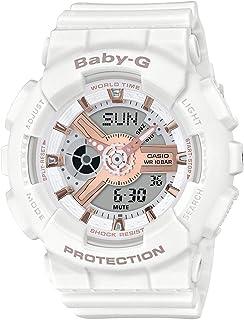 CASIO 卡西欧 女士模拟数字石英手表 树脂表带BA-110RG-7AER白色,